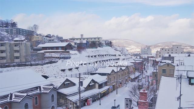 坂や傾斜地が多い小樽の街。昔の石造の倉庫を活かした観光施設が並ぶ堺町通りの裏手にすぐ斜面が続きます
